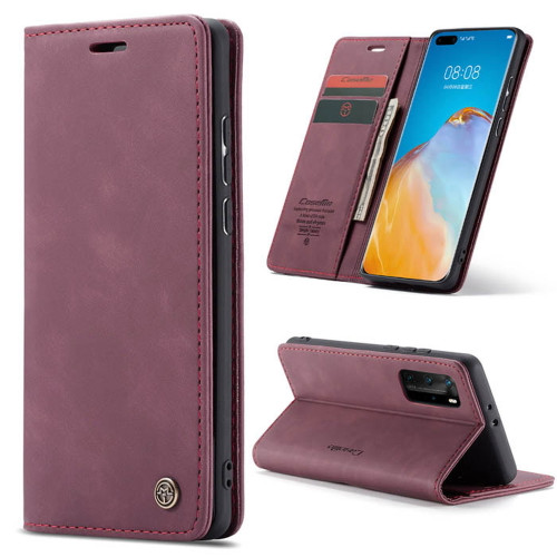 Red Wine CaseMe Synthetic Leather Wallet Case For Huawei P40 Pro  - 1