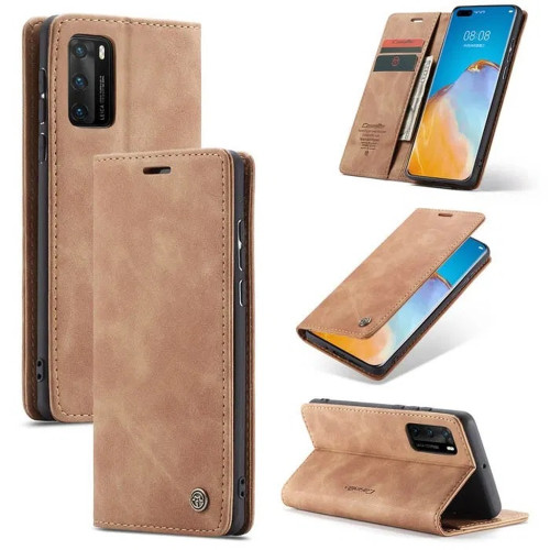 Brown Huawei P40 Genuine CaseMe Compact Flip Wallet Case - 1