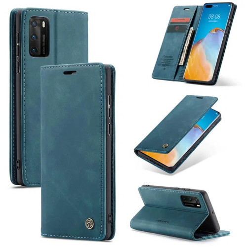 Blue Huawei P40 Premium CaseMe Thin Magnetic Wallet Case - 1