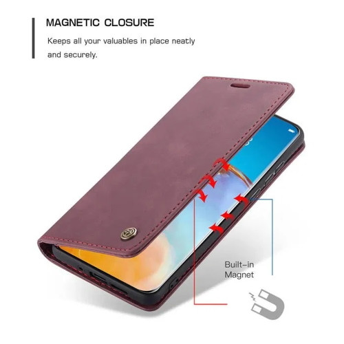 Red Wine Huawei P40 CaseMe Synthetic Leather Wallet Case - 4