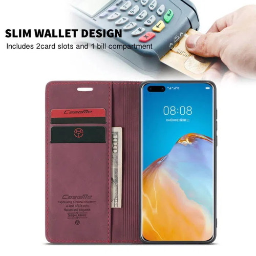 Red Wine Huawei P40 CaseMe Synthetic Leather Wallet Case - 1