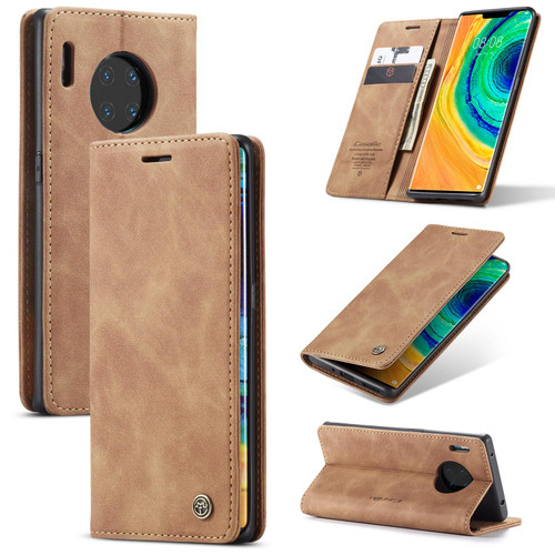 Brown CaseMe Premium PU Leather Wallet Case For Huawei P30 Pro  - 1