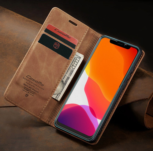 Brown Premium CaseMe Thin Magnetic Wallet Case For Huawei Mate 20 pro  - 1