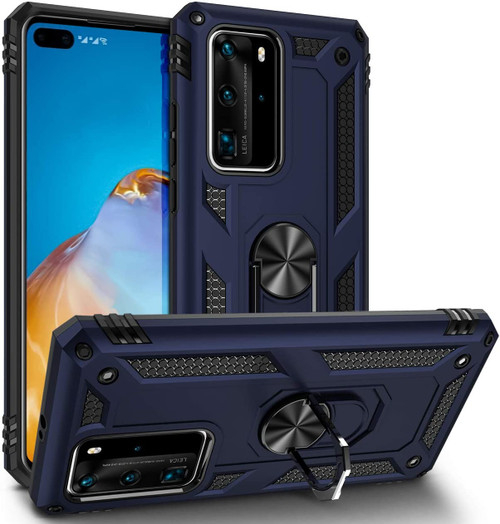 Navy Huawei P40 Pro Hybrid  Shock Proof Rotating Metal Ring Case - 1
