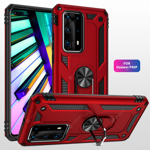 Red Huawei P40 Pro Slim Armour 360 Rotating Metal Ring Stand Case - 1