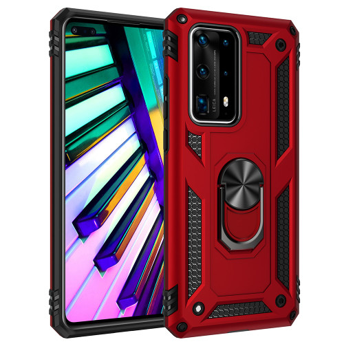 Red Huawei P40 Rugged Armour 360 Rotating Metal Ring Case - 1
