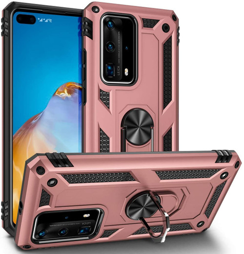 Rose Gold Huawei P40 Heavy Duty 360 Rotating Metal Ring Stand Case - 1