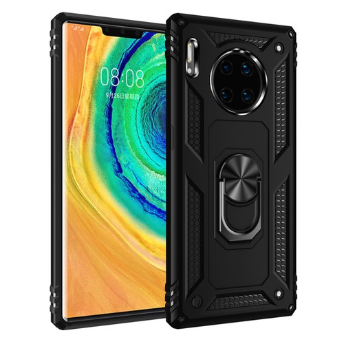 Black Slim Armour 360 Rotating Metal Ring Stand Case For Huawei Mate 30 Pro  - 1