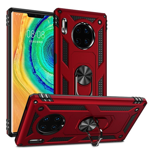 Red Rugged Armour 360 Rotating Metal Ring Case For Huawei Mate 30 Pro  - 1