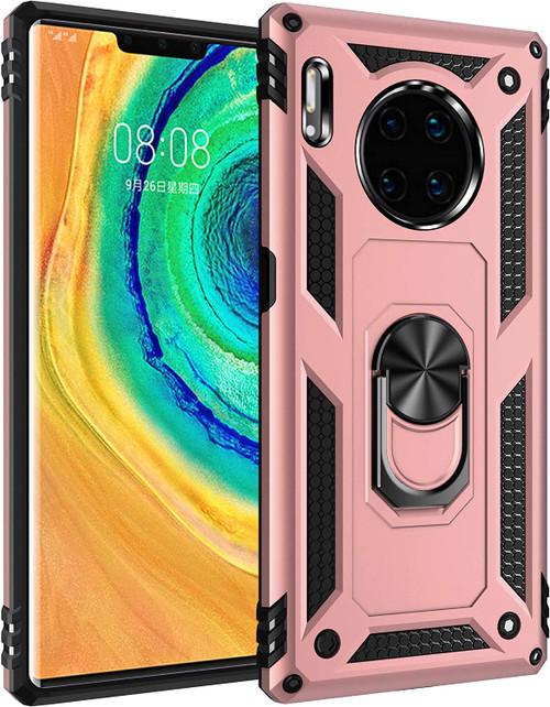 Rose Gold Huawei Mate 30 Pro Hybrid  Shock Proof Rotating Metal Ring Case - 1