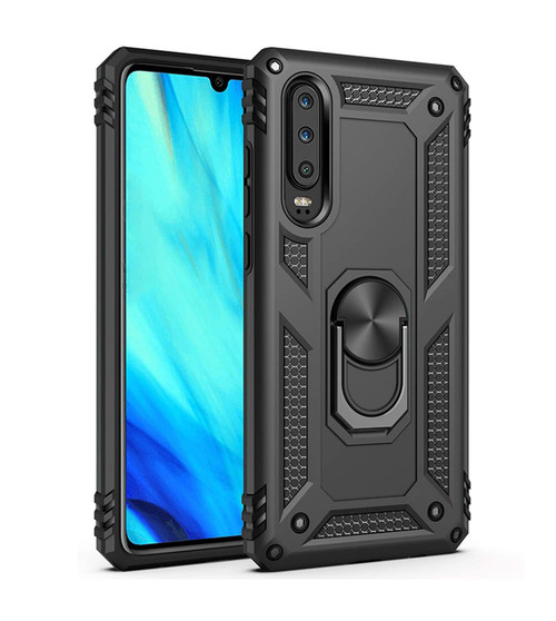 Black Slim Armour 360 Rotating Metal Ring Stand Case For Huawei P30  - 1