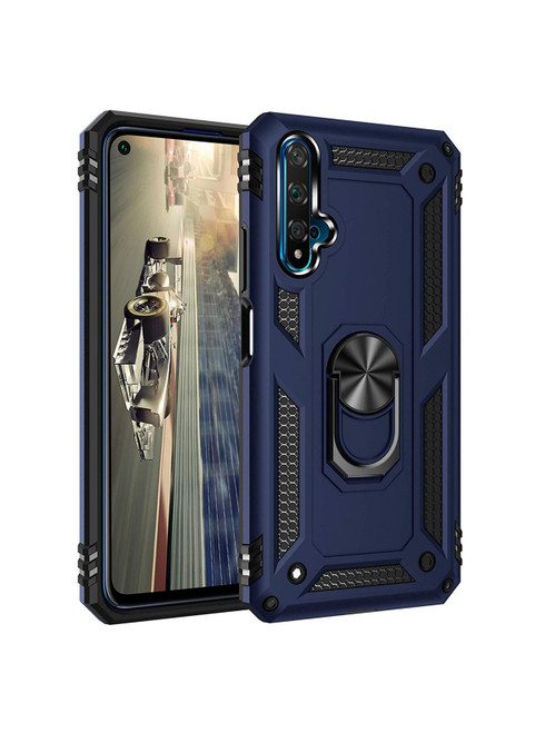Navy Hybrid  Shock Proof Rotating Metal Ring Case For Huawei Nova 5T  - 1