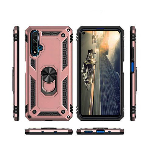 Rose Gold Huawei Nova 5T Slim Armour 360 Rotating Metal Ring Stand Case - 1