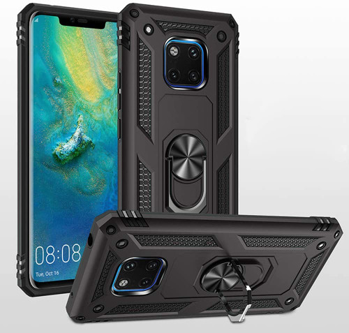 Black Rugged Armour 360 Rotating Metal Ring Case For Huawei Mate 20 pro  - 1