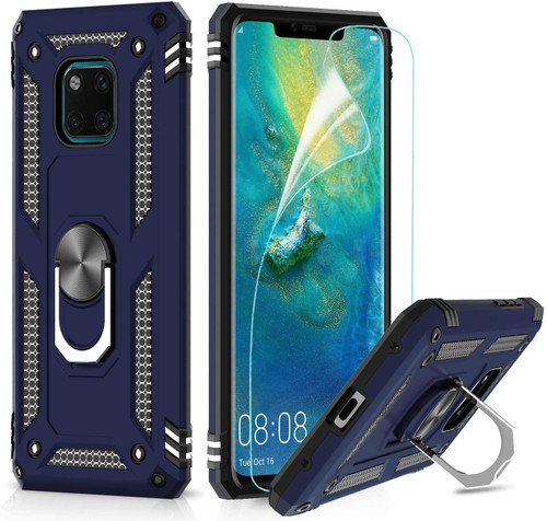 Navy Huawei Mate 20 pro Rugged Armour 360 Rotating Metal Ring Case - 1