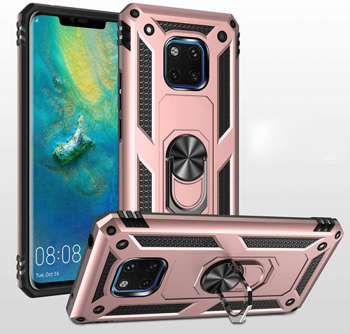 Rose Gold Heavy Duty 360 Rotating Metal Ring Stand Case For Huawei Mate 20 pro  - 1