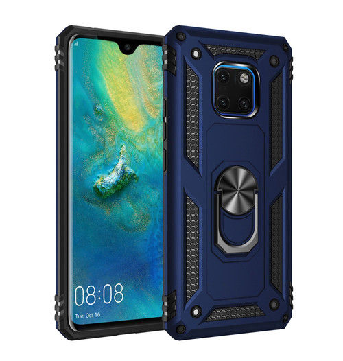 Navy Huawei Mate 20 Shock Proof 360 Rotating Metal Ring Stand Case - 1
