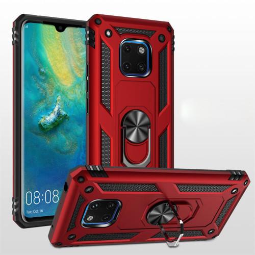 Red Huawei Mate 20 Hybrid  Shock Proof Rotating Metal Ring Case - 1
