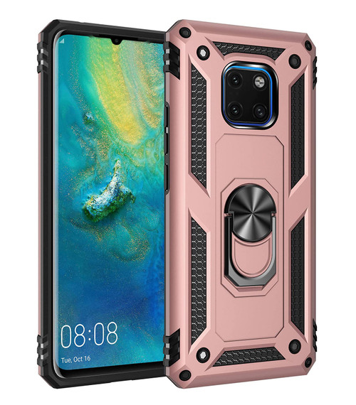 Rose Gold Heavy Duty 360 Rotating Metal Ring Stand Case For Huawei Mate 20  - 1