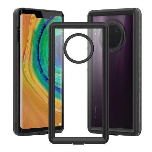 Black Huawei Mate 30 Pro Full Body Clear Back Shock Proof Case - 1