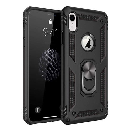 Black iPhone XR Shock Proof 360 Rotating Metal Ring Stand Case - 1