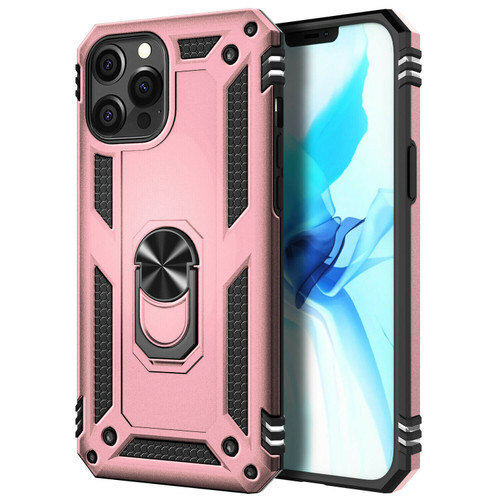 Rose Gold iPhone 12 Pro Max Hybrid  Shock Proof Rotating Metal Ring Case - 1