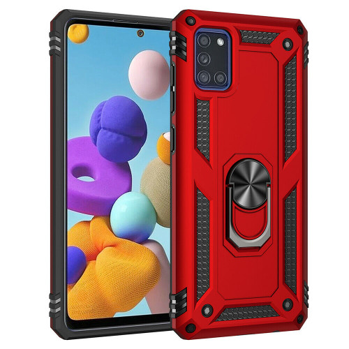 Red Rugged Armour 360 Rotating Metal Ring Case For Galaxy A71 5G  - 1