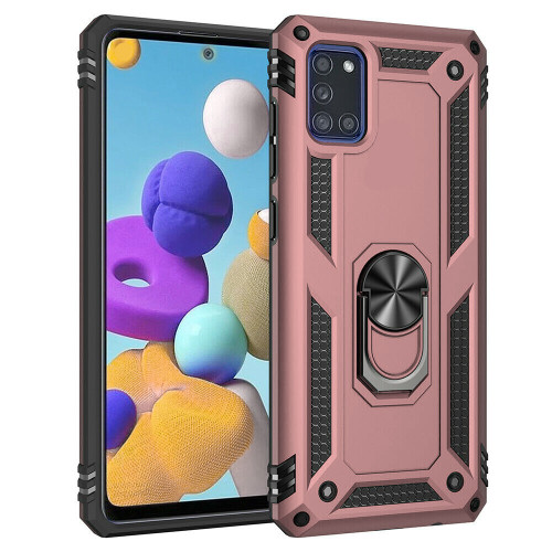 Rose Gold Galaxy A71 5G Rugged Armour 360 Rotating Metal Ring Case - 1