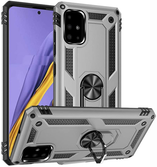 Silver Slim Armour 360 Rotating Metal Ring Stand Case For Galaxy A71 5G  - 1