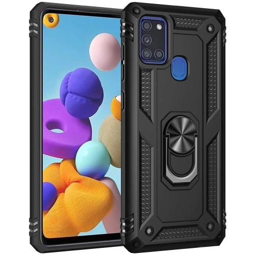 Black Hybrid  Shock Proof Rotating Metal Ring Case For Galaxy A21s  - 1