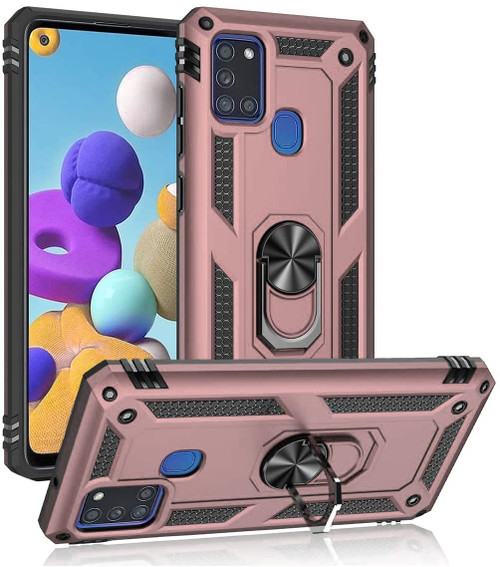 Rose Gold Galaxy A21s Rugged Armour 360 Rotating Metal Ring Case - 1