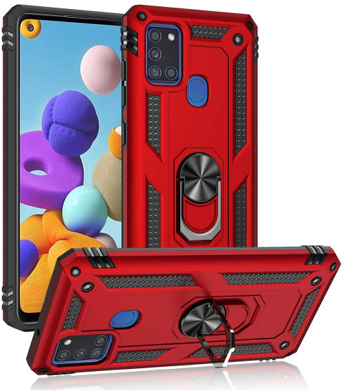 Red Slim Armour 360 Rotating Metal Ring Stand Case For Galaxy A21s  - 1
