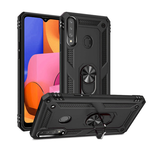Black Shock Proof 360 Rotating Metal Ring Stand Case For Galaxy A20s  - 1