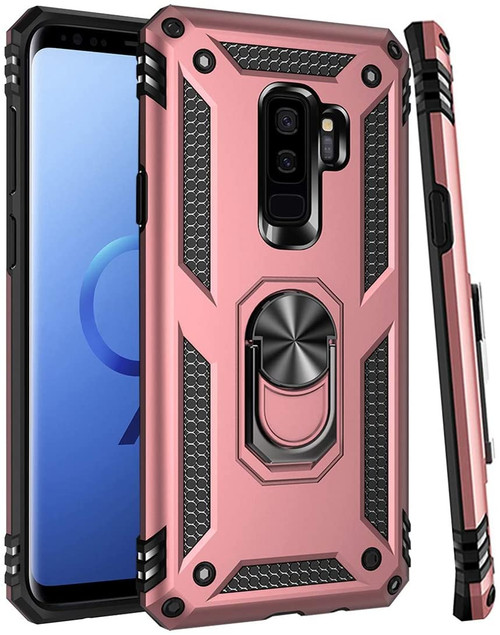 Rose Gold Galaxy S9+ Plus Shock Proof 360 Rotating Metal Ring Stand Case - 1