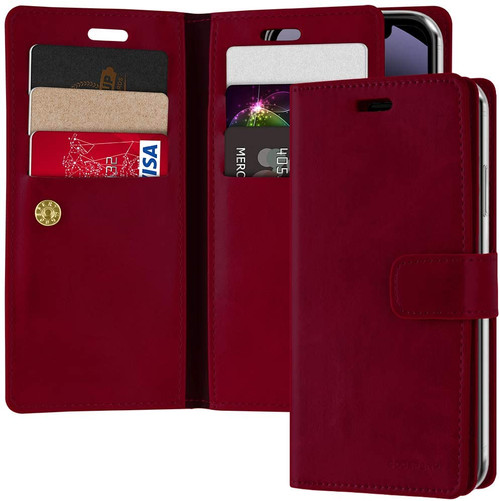 Classy Wine Mercury Mansoor Diary Wallet Case For iPhone 12 / 12 Pro - 1