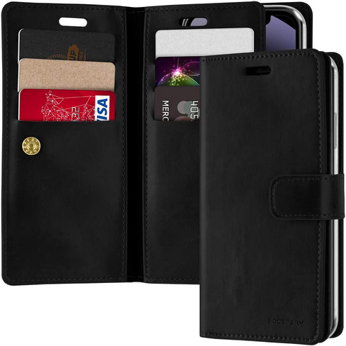 "Black iPhone 12 Mini 5.4"" Genuine Mercury Mansoor Diary Wallet Case - 1"