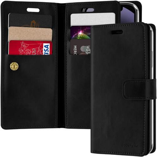 "Black iPhone 12 Mini 5.4"" Genuine Mercury Mansoor Diary Wallet Case - 1"