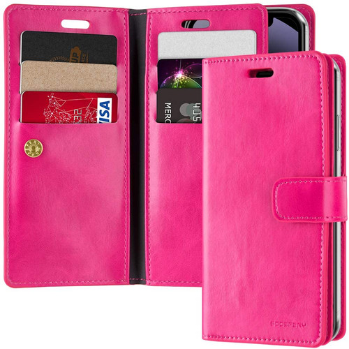 "Hot Pink iPhone 12 Mini 5.4"" Genuine Mercury Mansoor Diary Wallet Case - 1"