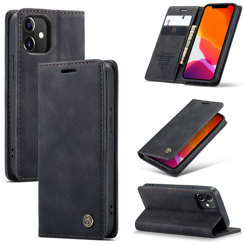 Black iPhone 12 Pro Genuine CaseMe Compact Flip Wallet Case - 1