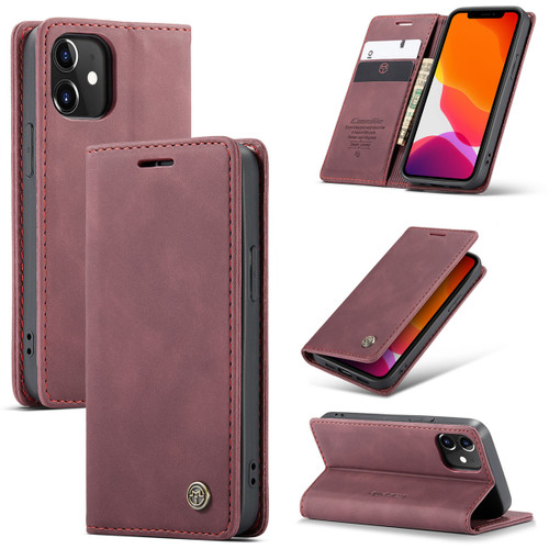Red Wine CaseMe Slim Magnetic Wallet Case Cover For iPhone 12 Pro  - 1