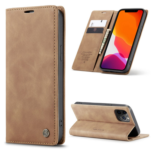 Brown CaseMe Premium PU Leather Wallet Case For iPhone 12 Pro Max  - 1