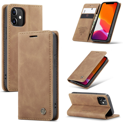 Brown CaseMe Premium PU Leather Wallet Case For iPhone 12 Mini  - 1