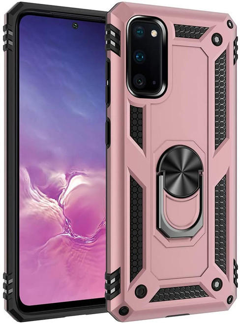 Galaxy S20 FE 5G Rose Gold 360 Rotating Metal Ring Armor Stand Case - 1