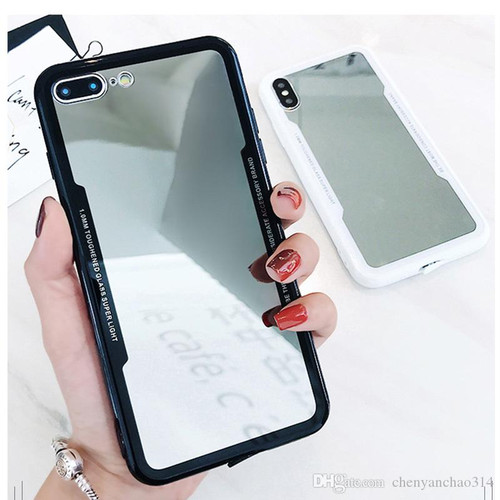 Black Apple iPhone 7 / 8 Clear Acrylic Back Slim Armor Case Cover - 1