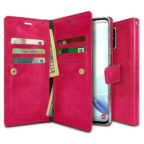 Hot Pink Samsung Galaxy A21s Mercury Mansoor 9 Card Slot Wallet Case - 1