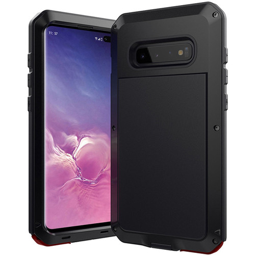 Black Metal Heavy Duty Shockproof Case For Galaxy S10 + Plus - 1
