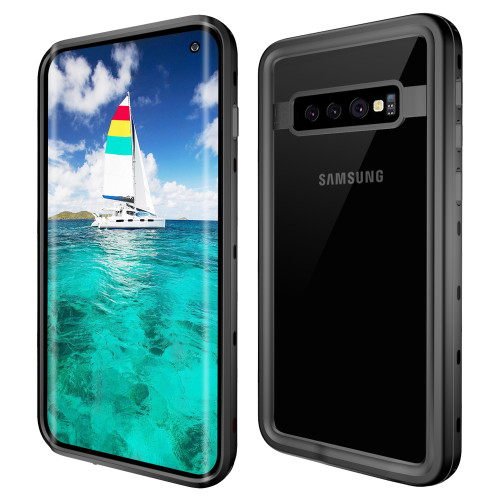 Black Waterproof Dirtproof Shock Proof Case For Galaxy S10 + Plus - 1