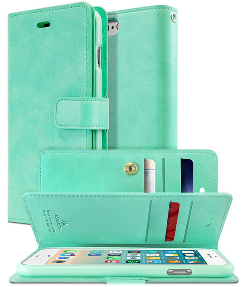 Mint Green Genuine Mercury Mansoor Diary Wallet Case For iPhone X / XS - 1