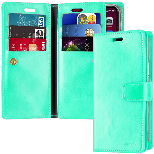 Mint Green Mercury Mansoor Diary Wallet Case For iPhone 12 / 12 Pro - 1