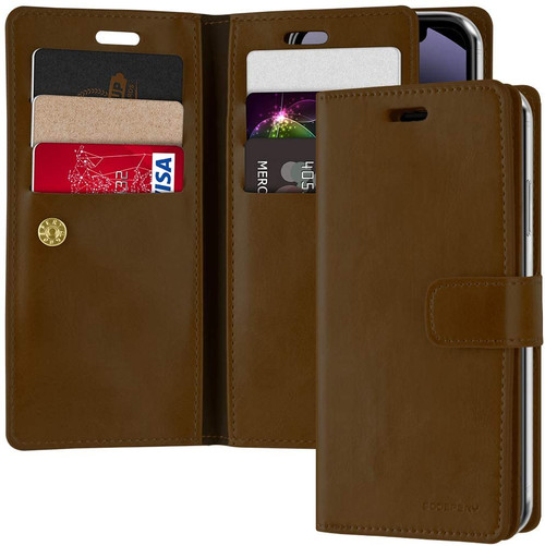 iPhone 12 Pro Max Mercury Mansoor Diary Wallet Case - Vintage Brown - 1